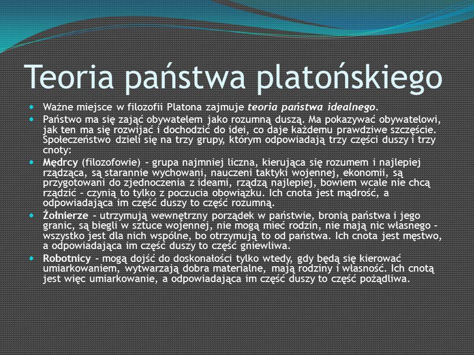 Teoria państwa platońskiego Ważne miejsce w filozofii Platona zajmuje teoria państwa idealnego.