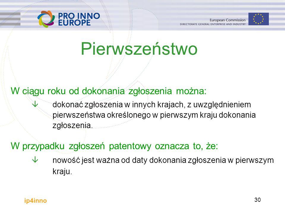 ip4inno 30 Pierwszeństwo W ciągu roku od dokonania zgłoszenia można: âdokonać zgłoszenia w innych krajach, z uwzględnieniem pierwszeństwa określonego w pierwszym kraju dokonania zgłoszenia.