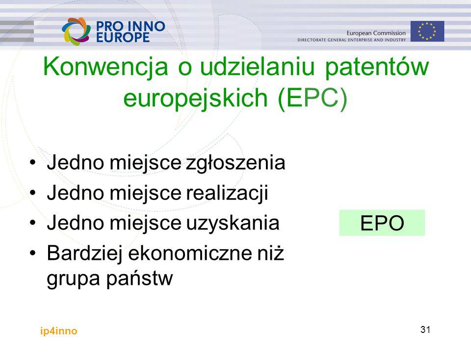 ip4inno 31 Konwencja o udzielaniu patentów europejskich (EPC) Jedno miejsce zgłoszenia Jedno miejsce realizacji Jedno miejsce uzyskania Bardziej ekonomiczne niż grupa państw EPO