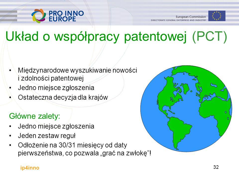 """ip4inno 32 Układ o współpracy patentowej (PCT) Międzynarodowe wyszukiwanie nowości i zdolności patentowej Jedno miejsce zgłoszenia Ostateczna decyzja dla krajów Główne zalety: Jedno miejsce zgłoszenia Jeden zestaw reguł Odłożenie na 30/31 miesięcy od daty pierwszeństwa, co pozwala """"grać na zwłokę !"""