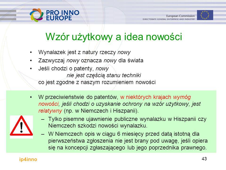 ip4inno 43 Wzór użytkowy a idea nowości Wynalazek jest z natury rzeczy nowy Zazwyczaj nowy oznacza nowy dla świata Jeśli chodzi o patenty, nowy nie jest częścią stanu techniki co jest zgodne z naszym rozumieniem nowości W przeciwieństwie do patentów, w niektórych krajach wymóg nowości, jeśli chodzi o uzyskanie ochrony na wzór użytkowy, jest relatywny (np.