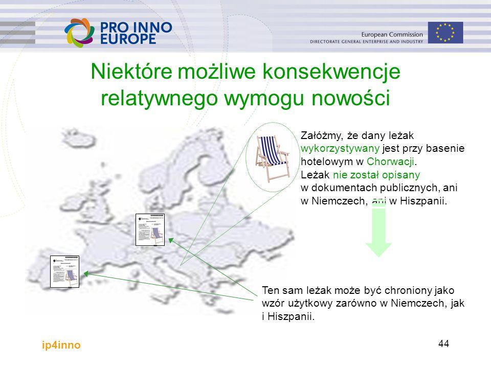 ip4inno 44 Niektóre możliwe konsekwencje relatywnego wymogu nowości Załóżmy, że dany leżak wykorzystywany jest przy basenie hotelowym w Chorwacji.