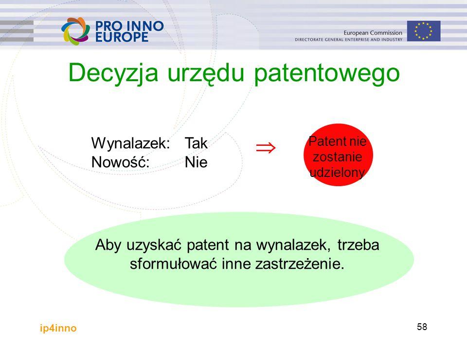 ip4inno 58 Decyzja urzędu patentowego Aby uzyskać patent na wynalazek, trzeba sformułować inne zastrzeżenie.