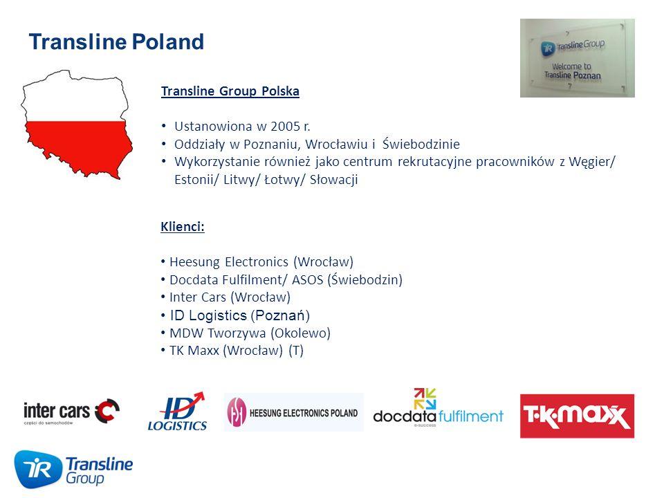 Transline Poland Transline Group Polska Ustanowiona w 2005 r. Oddziały w Poznaniu, Wrocławiu i Świebodzinie Wykorzystanie również jako centrum rekruta