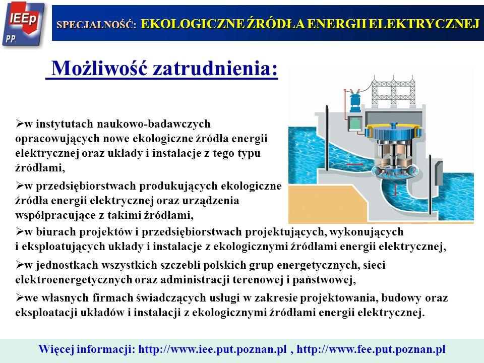 333 Możliwość zatrudnienia:  w instytutach naukowo-badawczych opracowujących nowe ekologiczne źródła energii elektrycznej oraz układy i instalacje z