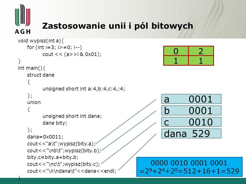 Zastosowanie unii i pól bitowych void wypisz(int a){ for (int i=3; i>=0; i--) cout >i & 0x01); } int main(){ struct dane { unsigned short int a:4,b:4,c:4,:4; }; union { unsigned short int dana; dane bity; }; dana=0x0011; cout<< a\t ;wypisz(bity.a); cout<< \nb\t ;wypisz(bity.b); bity.c=bity.a+bity.b; cout<< \nc\t ;wypisz(bity.c); cout<< \n\ndana\t <<dana<<endl; } a0001 b0001 c0010 dana 529 00 11 2 0000 0010 0001 0001 =2 9 +2 4 +2 0 =512+16+1=529