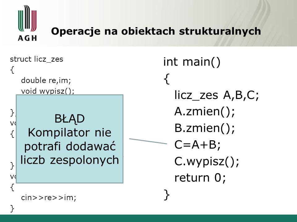 Operacje na obiektach strukturalnych struct licz_zes { double re,im; void wypisz(); void zmien(); }; void licz_zes::wypisz() { cout<< RE: <<re<<endl; cout<< IM: <<im<<endl; } void licz_zes::zmien() { cin>>re>>im; } int main() { licz_zes A,B,C; A.zmien(); B.zmien(); C=A+B; C.wypisz(); return 0; } BŁĄD Kompilator nie potrafi dodawać liczb zespolonych