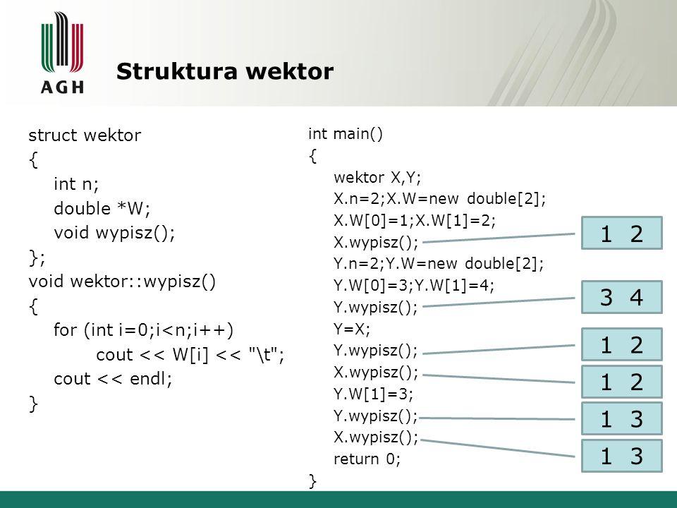 Struktura wektor struct wektor { int n; double *W; void wypisz(); }; void wektor::wypisz() { for (int i=0;i<n;i++) cout << W[i] << \t ; cout << endl; } int main() { wektor X,Y; X.n=2;X.W=new double[2]; X.W[0]=1;X.W[1]=2; X.wypisz(); Y.n=2;Y.W=new double[2]; Y.W[0]=3;Y.W[1]=4; Y.wypisz(); Y=X; Y.wypisz(); X.wypisz(); Y.W[1]=3; Y.wypisz(); X.wypisz(); return 0; } 1 2 3 4 1 2 1 3