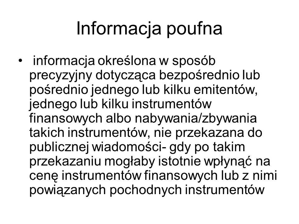 Informacja poufna informacja określona w sposób precyzyjny dotycząca bezpośrednio lub pośrednio jednego lub kilku emitentów, jednego lub kilku instrum