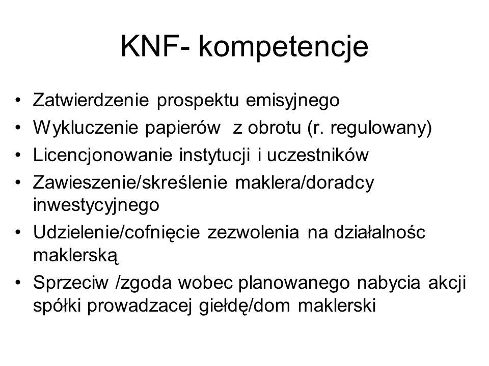KNF- kompetencje Zatwierdzenie prospektu emisyjnego Wykluczenie papierów z obrotu (r. regulowany) Licencjonowanie instytucji i uczestników Zawieszenie