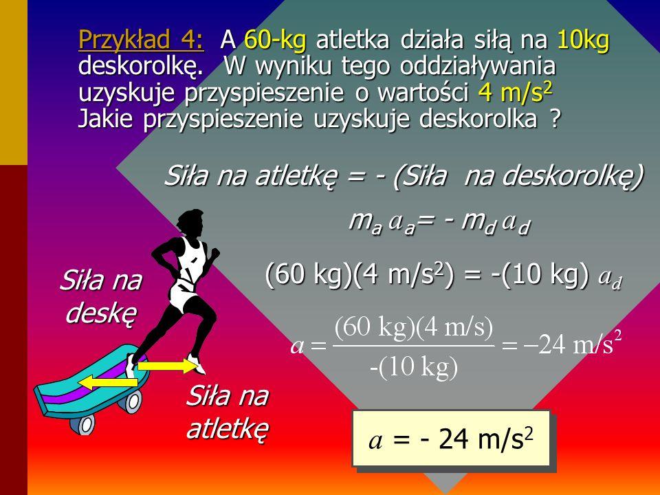 III zasada dynamiki- przypomnienie: III zasada: Każdej akcji towarzyszy równa przeciwnie skierowana reakcja. Siły te występują parami i przyłożone są