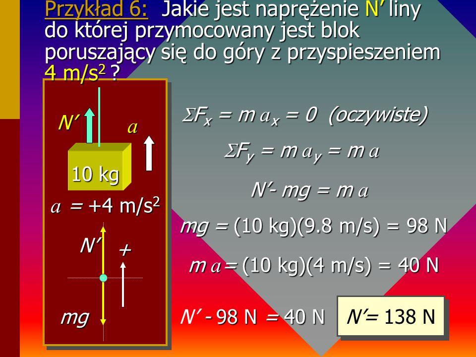 Przykład 5 30 0 60 0 4 kgA A B B P = mg 30 0 60 0 BxBx ByBy AxAx AyAy 1. Rysujemy układ odniesienia. 2. Rysujemy siły w tym układzie. 3. Zaznaczamy sk