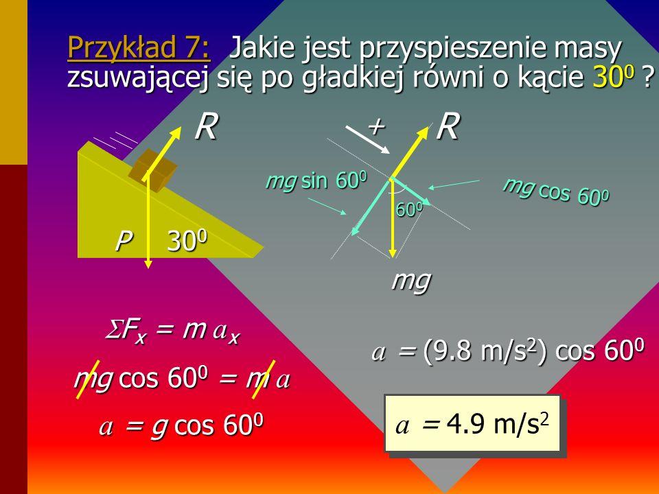 Przykład 6: Jakie jest naprężenie N' liny do której przymocowany jest blok poruszający się do góry z przyspieszeniem 4 m/s 2 ? 10 kg a = +4 m/s 2 N'a