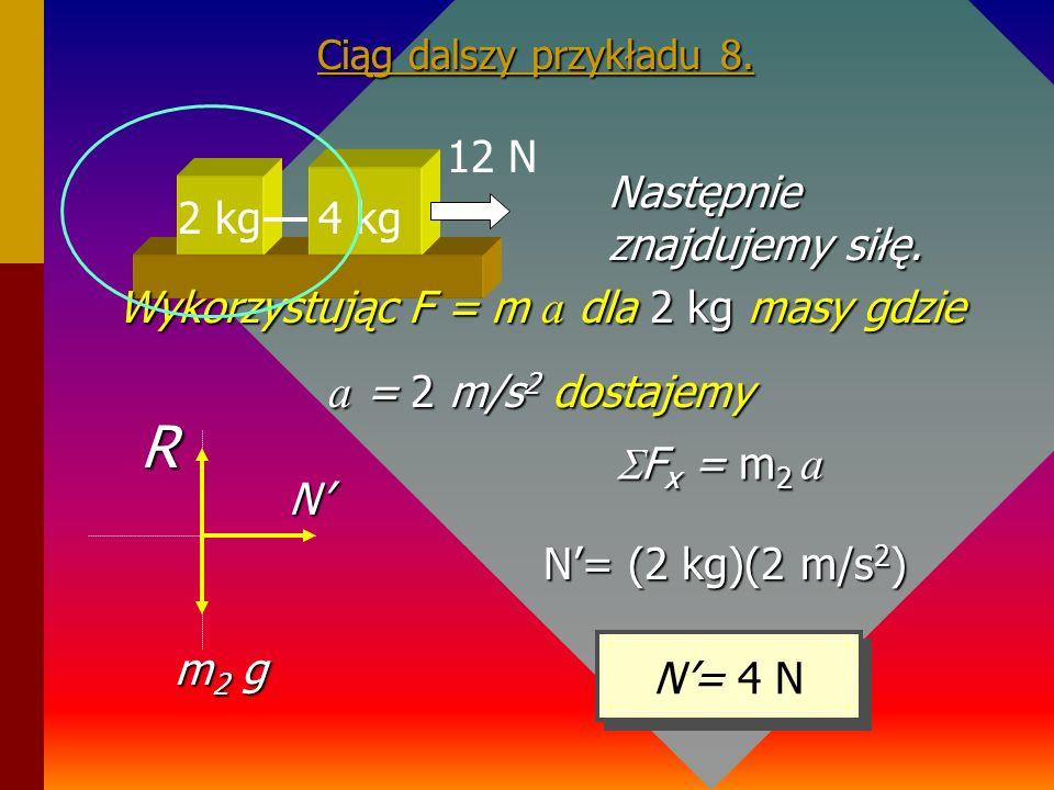 Przykład 8. Znaleźć siłę naprężenia występującą pomiędzy masami jak na rysunku. 2 kg 4 kg 12 N Znajdujemy najpierw przyspieszenie układu mas. F = m a
