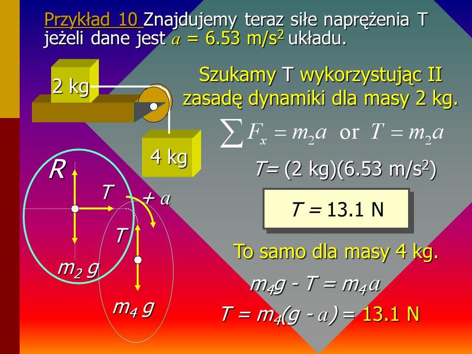 Przykład 9 Znaleźć przyspieszenie układu mas przedstawionych na rysunku (brak tarcia) Na początku zaznaczymy wszystkie siły działające w układzie mas.