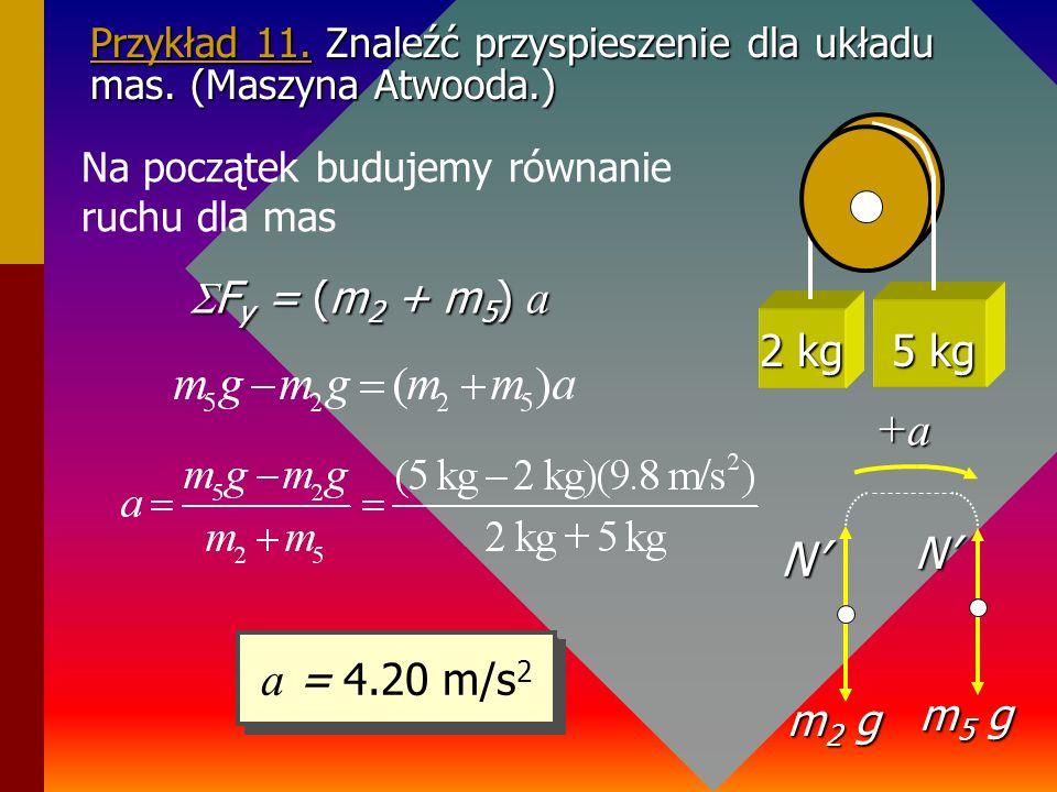 Przykład 10 Znajdujemy teraz siłe naprężenia T jeżeli dane jest a = 6.53 m/s 2 układu. Szukamy T wykorzystując II zasadę dynamiki dla masy 2 kg. T= (2