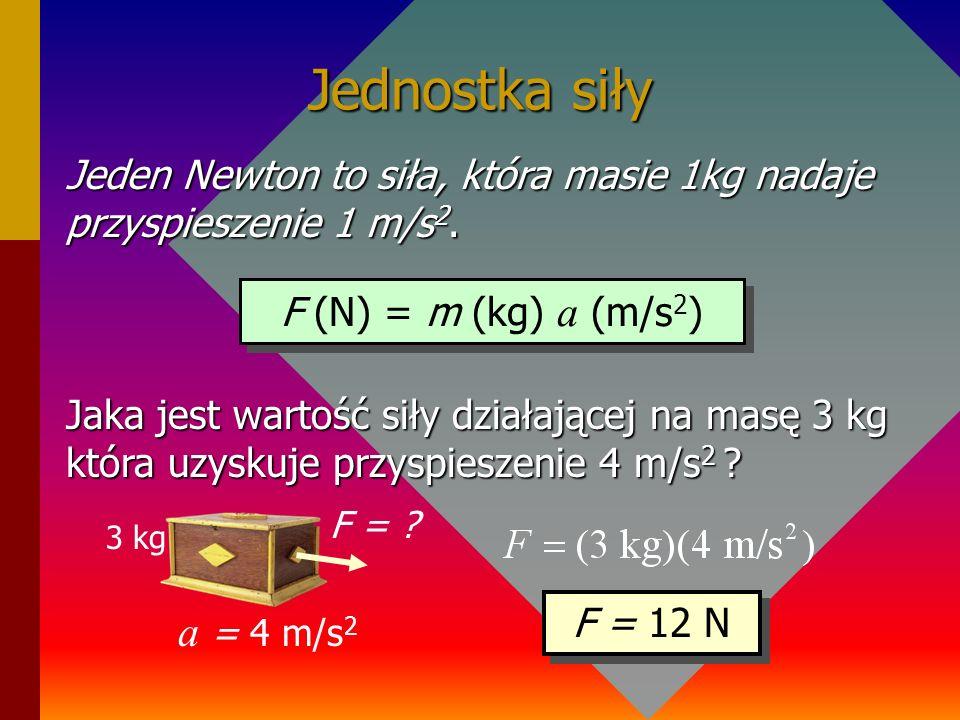 Przyspieszenie i siła F F a a/2 Działanie tą samą siłą na 2 – krotnie większą masę wywołuje o połowę mniejsze przyspieszenie (masa zmniejsza przyspies