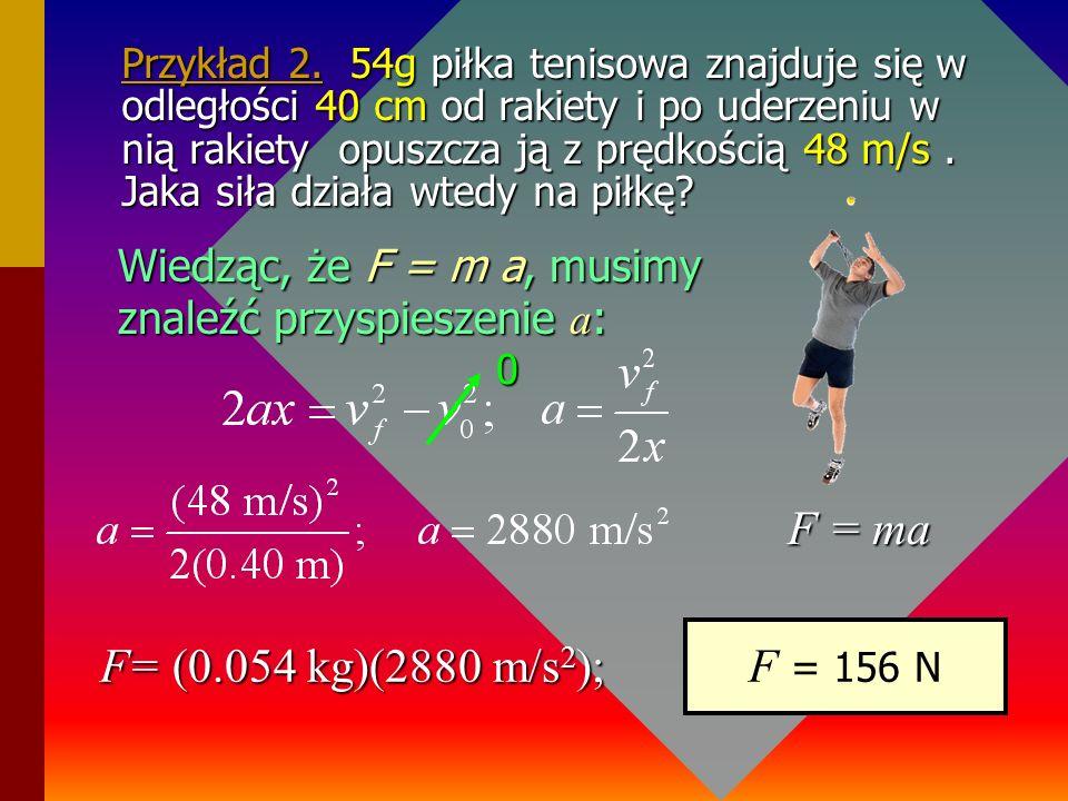 Przykład 1. Siła 4.2 x 10 4 N działa na samolot o masie 3.2 x 10 4 kg podczas jego startu. Jaka siła działa w tym samolocie na pilota o masie 75kg ? F
