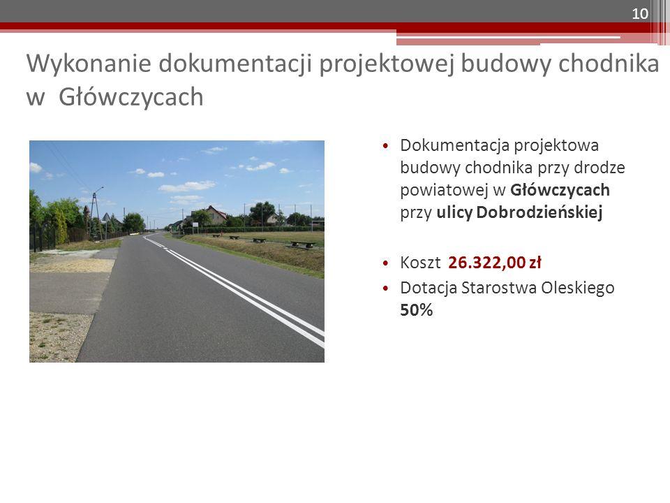Wykonanie dokumentacji projektowej budowy chodnika w Główczycach Dokumentacja projektowa budowy chodnika przy drodze powiatowej w Główczycach przy uli
