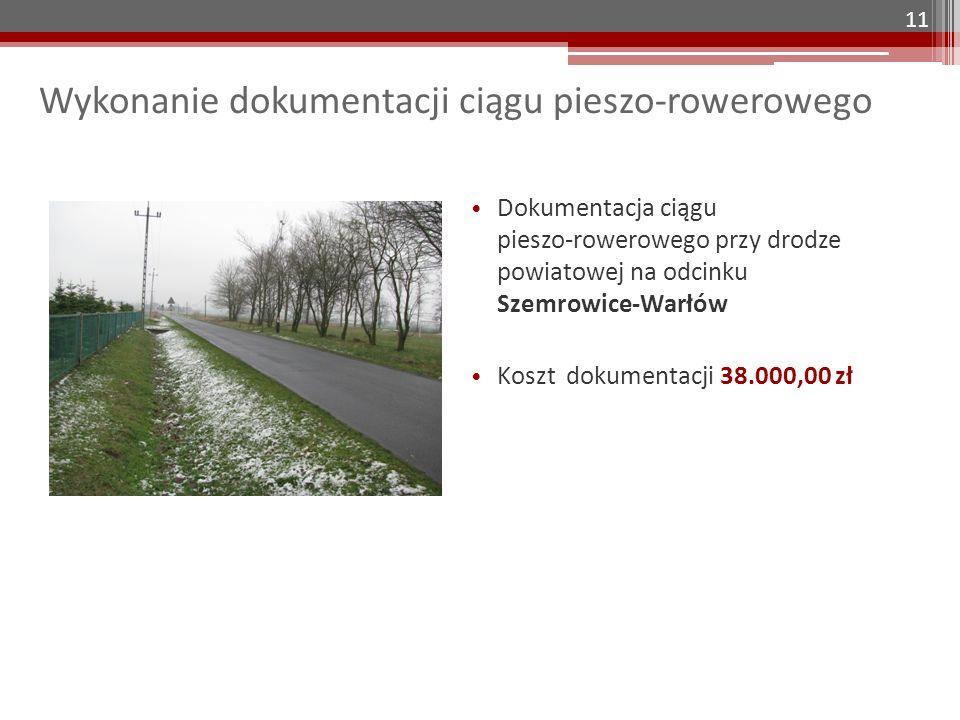 Wykonanie dokumentacji ciągu pieszo-rowerowego Dokumentacja ciągu pieszo-rowerowego przy drodze powiatowej na odcinku Szemrowice-Warłów Koszt dokumentacji 38.000,00 zł 11