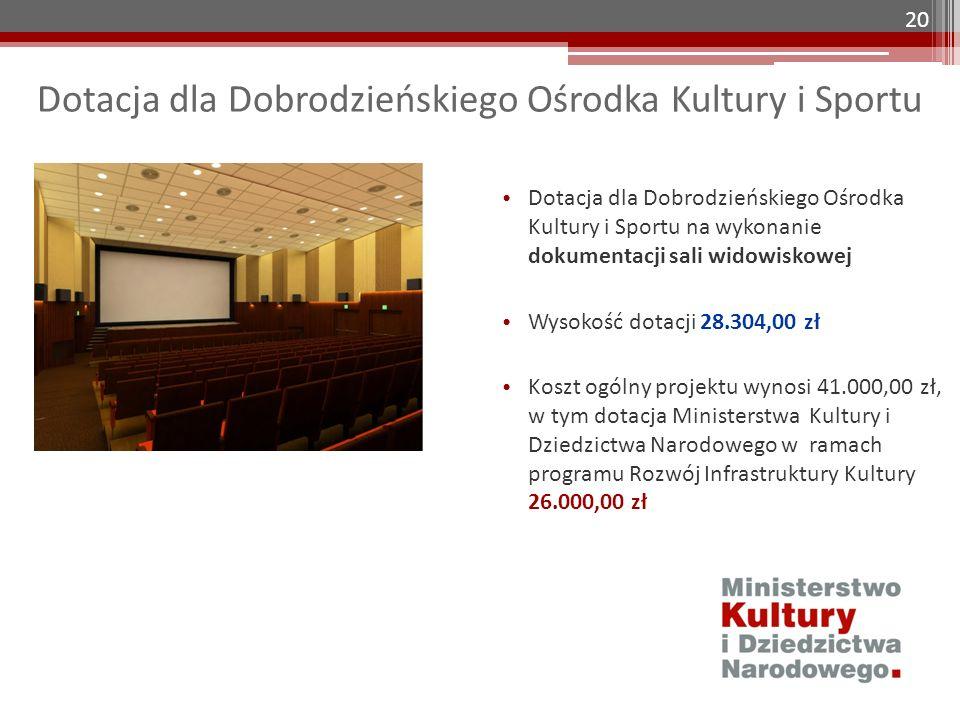 Dotacja dla Dobrodzieńskiego Ośrodka Kultury i Sportu Dotacja dla Dobrodzieńskiego Ośrodka Kultury i Sportu na wykonanie dokumentacji sali widowiskowe