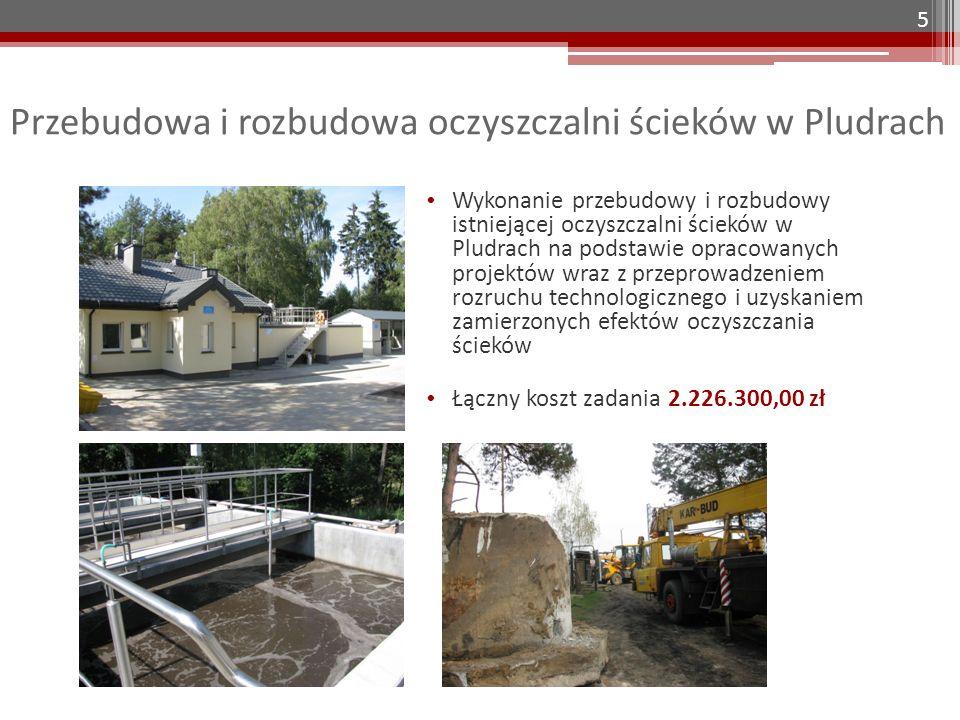 Przebudowa i rozbudowa oczyszczalni ścieków w Pludrach Wykonanie przebudowy i rozbudowy istniejącej oczyszczalni ścieków w Pludrach na podstawie opracowanych projektów wraz z przeprowadzeniem rozruchu technologicznego i uzyskaniem zamierzonych efektów oczyszczania ścieków Łączny koszt zadania 2.226.300,00 zł 5