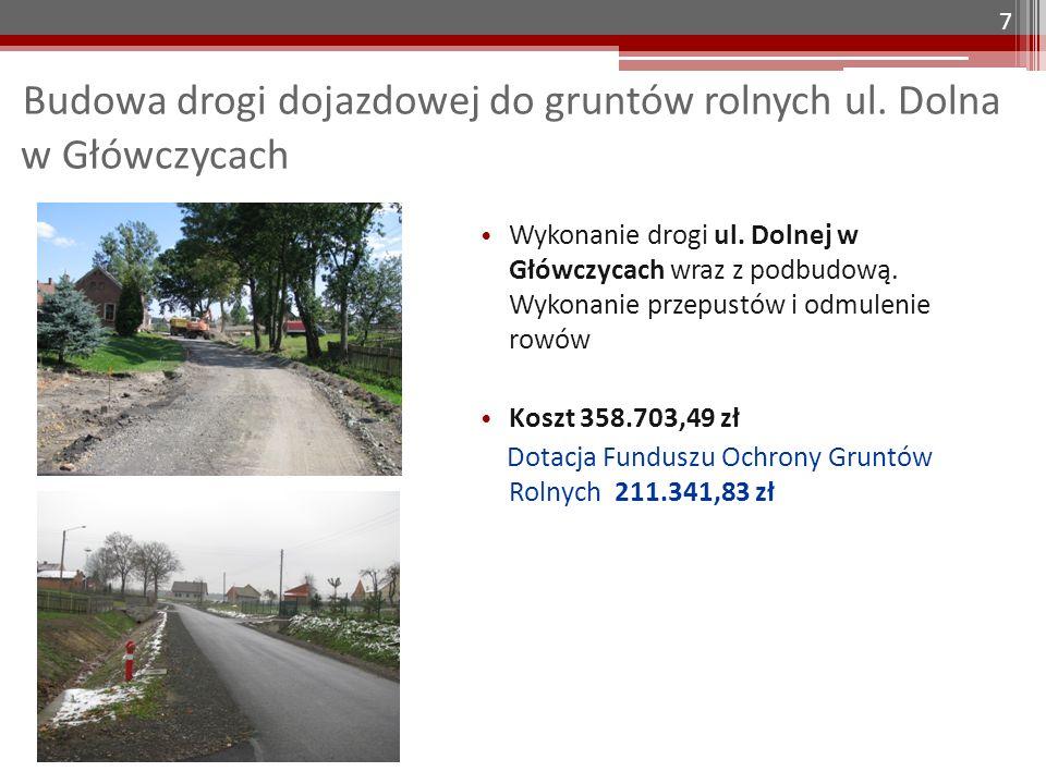 Budowa drogi dojazdowej do gruntów rolnych ul. Dolna w Główczycach 7 Wykonanie drogi ul. Dolnej w Główczycach wraz z podbudową. Wykonanie przepustów i