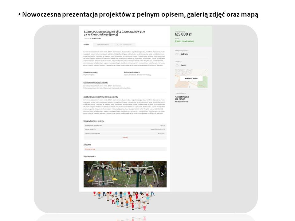 Nowoczesna prezentacja projektów z pełnym opisem, galerią zdjęć oraz mapą