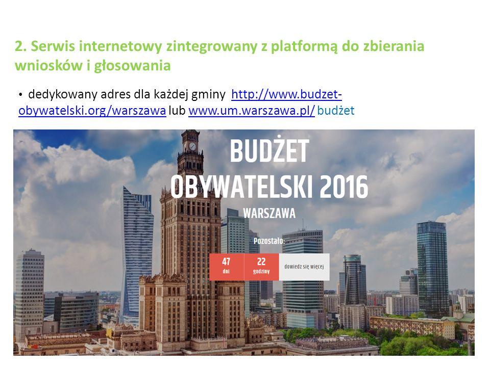2. Serwis internetowy zintegrowany z platformą do zbierania wniosków i głosowania dedykowany adres dla każdej gminy http://www.budzet- obywatelski.org