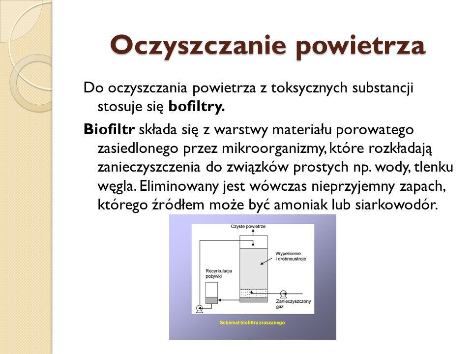 Oczyszczanie powietrza Do oczyszczania powietrza z toksycznych substancji stosuje się bofiltry. Biofiltr składa się z warstwy materiału porowatego zas