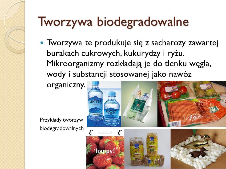 Tworzywa biodegradowalne Tworzywa te produkuje się z sacharozy zawartej burakach cukrowych, kukurydzy i ryżu. Mikroorganizmy rozkładają je do tlenku w