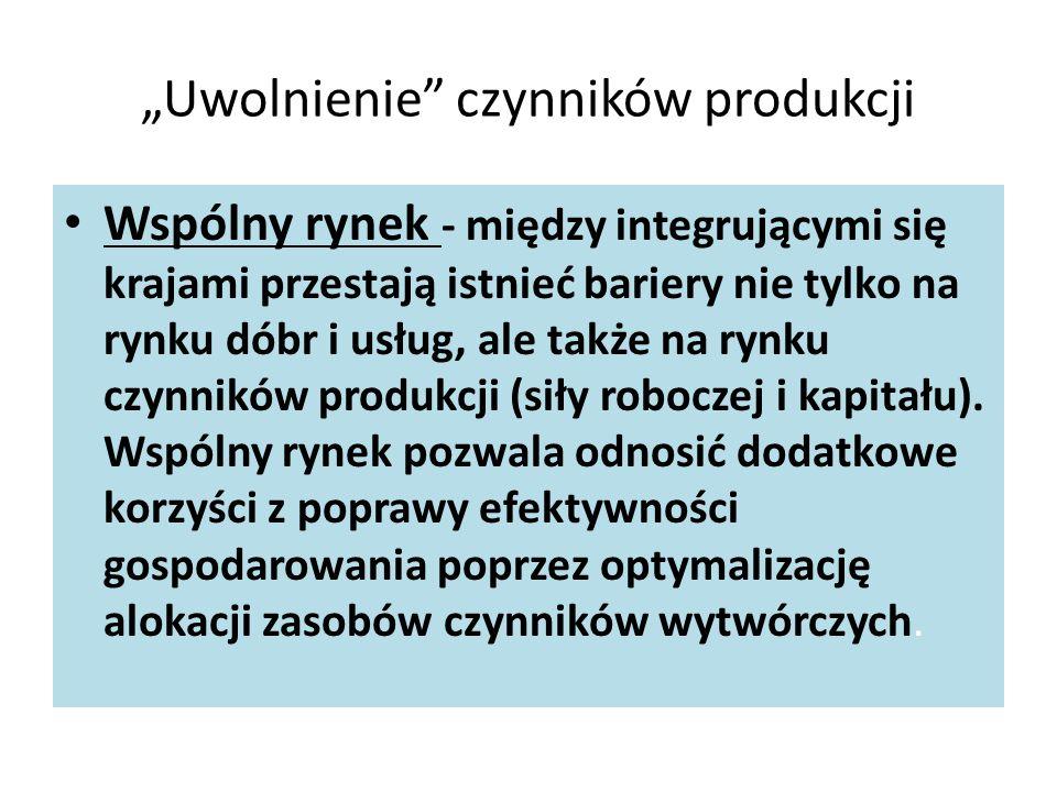 """""""Uwolnienie czynników produkcji Wspólny rynek - między integrującymi się krajami przestają istnieć bariery nie tylko na rynku dóbr i usług, ale także na rynku czynników produkcji (siły roboczej i kapitału)."""