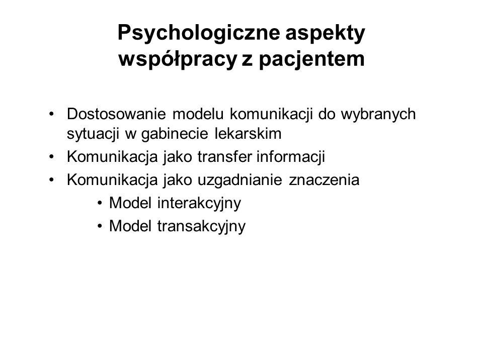 Psychologiczne aspekty współpracy z pacjentem Piśmiennictwo: -Jakubowska-Winecka, A.