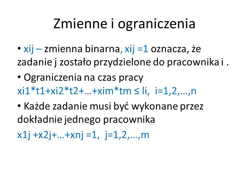 Zmienne i ograniczenia xij – zmienna binarna, xij =1 oznacza, że zadanie j zostało przydzielone do pracownika i.