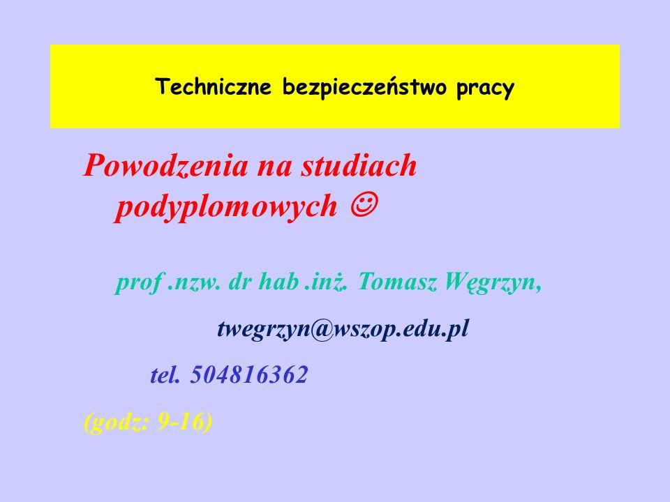 Techniczne bezpieczeństwo pracy Powodzenia na studiach podyplomowych podarki z podarki z prof.nzw. dr hab.inż. Tomasz Węgrzyn, twegrzyn@wszop.edu.pl t