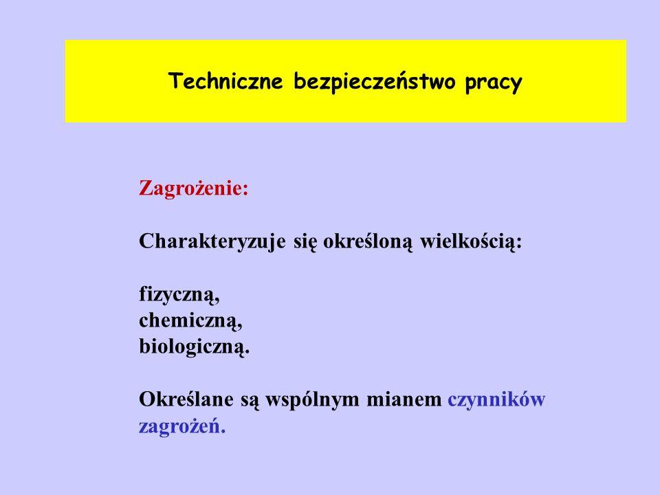 Techniczne bezpieczeństwo pracy Zagrożenie: Charakteryzuje się określoną wielkością: fizyczną, chemiczną, biologiczną. Określane są wspólnym mianem cz
