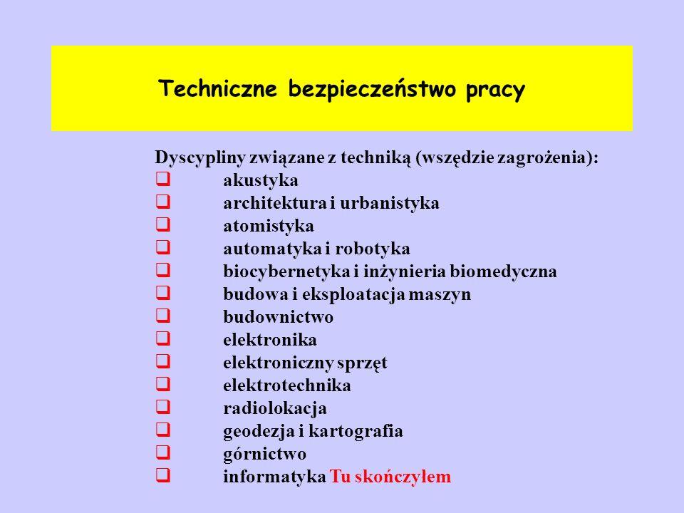 Techniczne bezpieczeństwo pracy Dyscypliny związane z techniką (wszędzie zagrożenia):  akustyka  architektura i urbanistyka  atomistyka  automatyk
