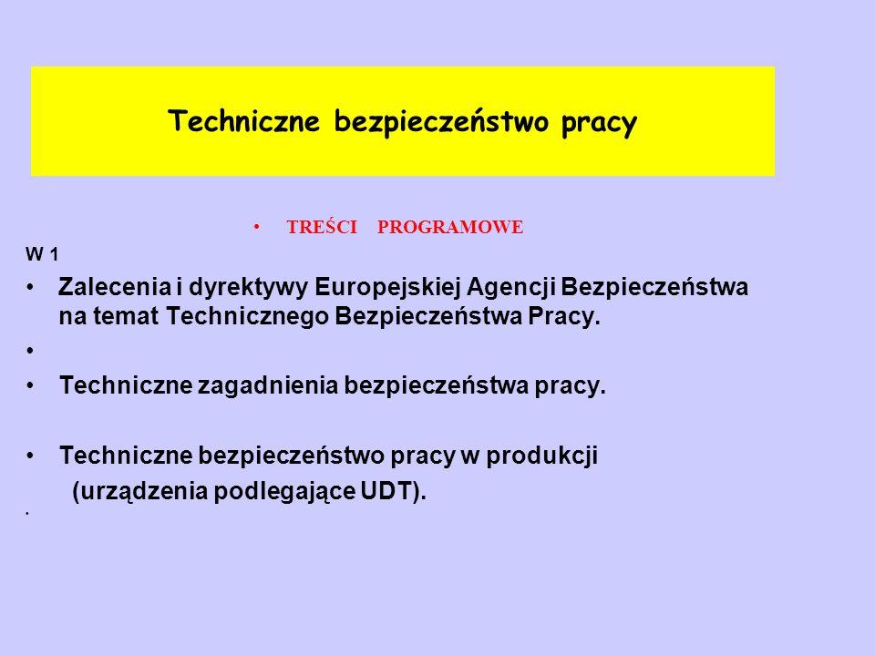 Techniczne bezpieczeństwo pracy TREŚCI PROGRAMOWE W 2 Warunki techniczne obiektów budowlanych.