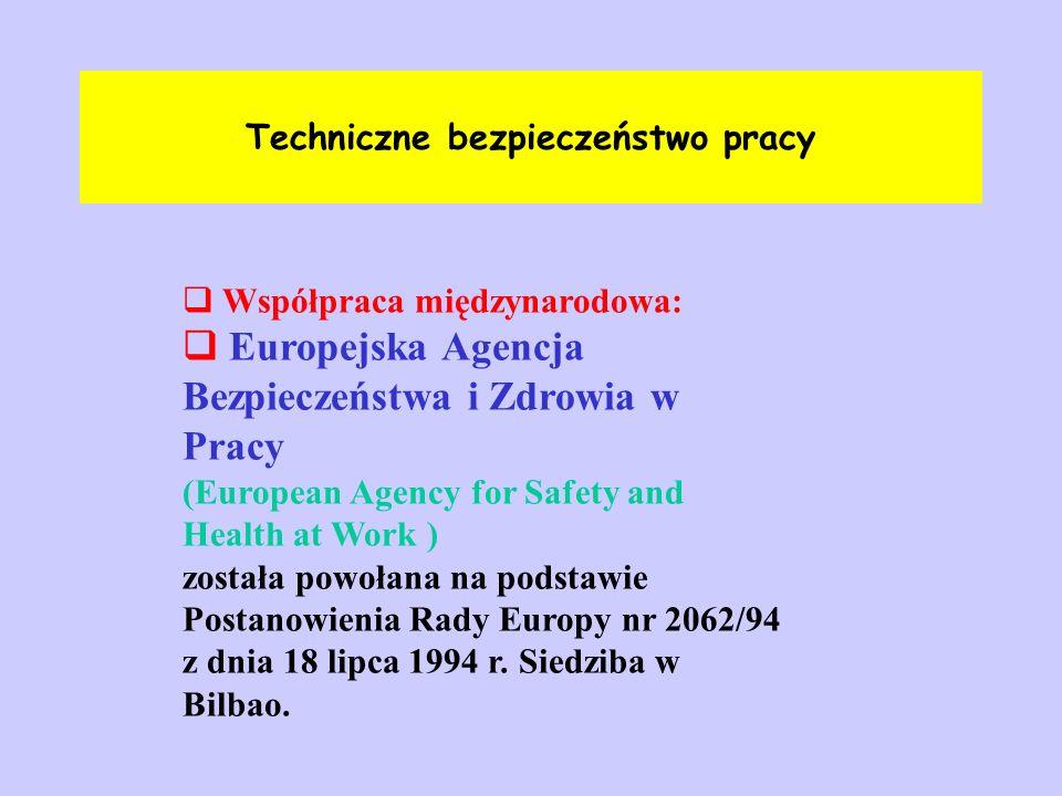 Techniczne bezpieczeństwo pracy  Współpraca międzynarodowa:  Europejska Agencja Bezpieczeństwa i Zdrowia w Pracy (European Agency for Safety and Hea