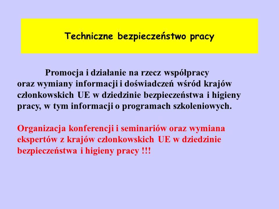 Techniczne bezpieczeństwo pracy Promocja i działanie na rzecz współpracy oraz wymiany informacji i doświadczeń wśród krajów członkowskich UE w dziedzi