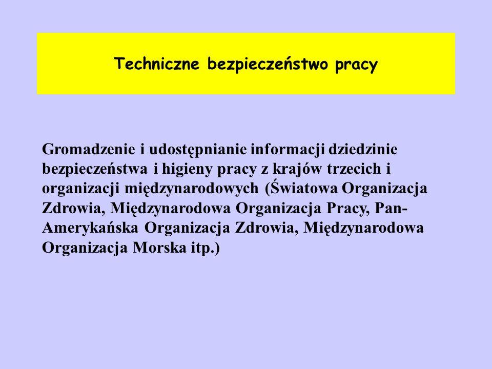 Techniczne bezpieczeństwo pracy Gromadzenie i udostępnianie informacji dziedzinie bezpieczeństwa i higieny pracy z krajów trzecich i organizacji międz