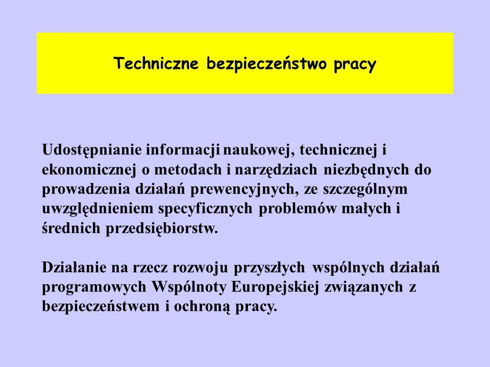 Techniczne bezpieczeństwo pracy Udostępnianie informacji naukowej, technicznej i ekonomicznej o metodach i narzędziach niezbędnych do prowadzenia dzia