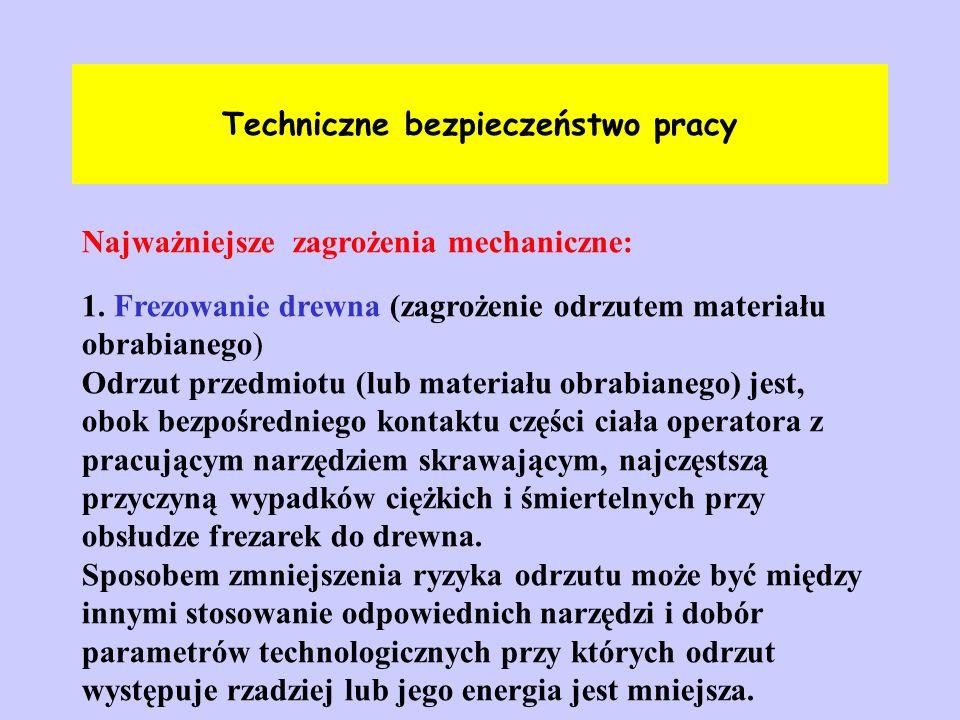Techniczne bezpieczeństwo pracy Najważniejsze zagrożenia mechaniczne: 1. Frezowanie drewna (zagrożenie odrzutem materiału obrabianego) Odrzut przedmio