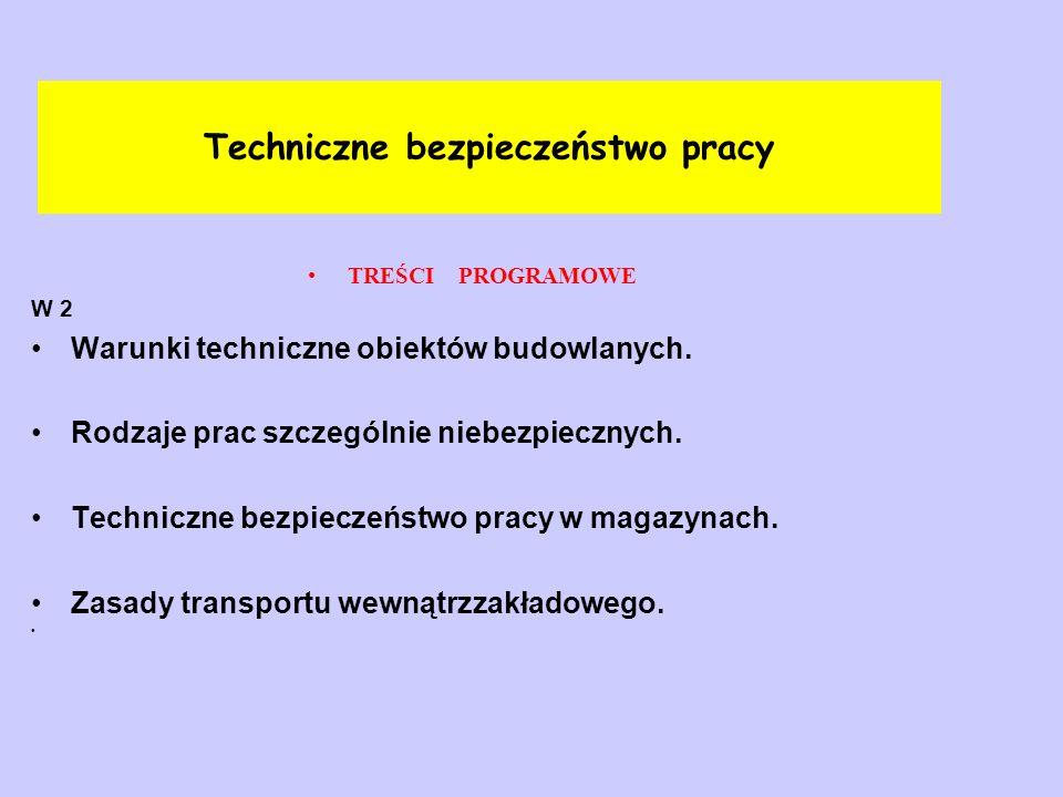 Techniczne bezpieczeństwo pracy TREŚCI PROGRAMOWE W 3 Zagrożenia mechaniczne w różnych środowiskach pracy.