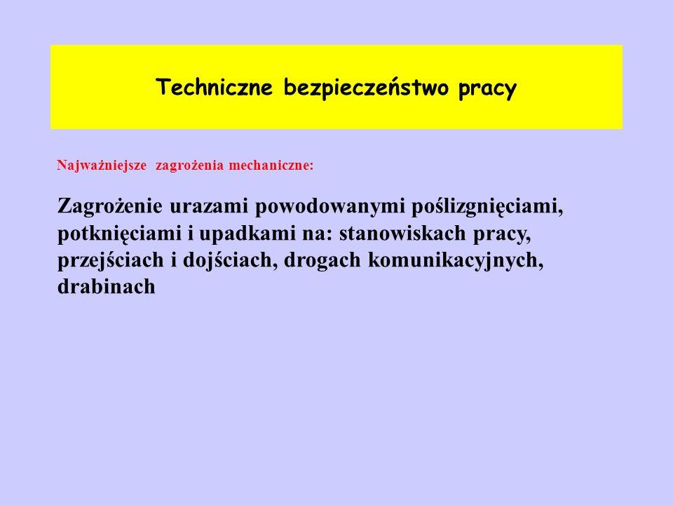 Techniczne bezpieczeństwo pracy Najważniejsze zagrożenia mechaniczne: Zagrożenie urazami powodowanymi poślizgnięciami, potknięciami i upadkami na: sta