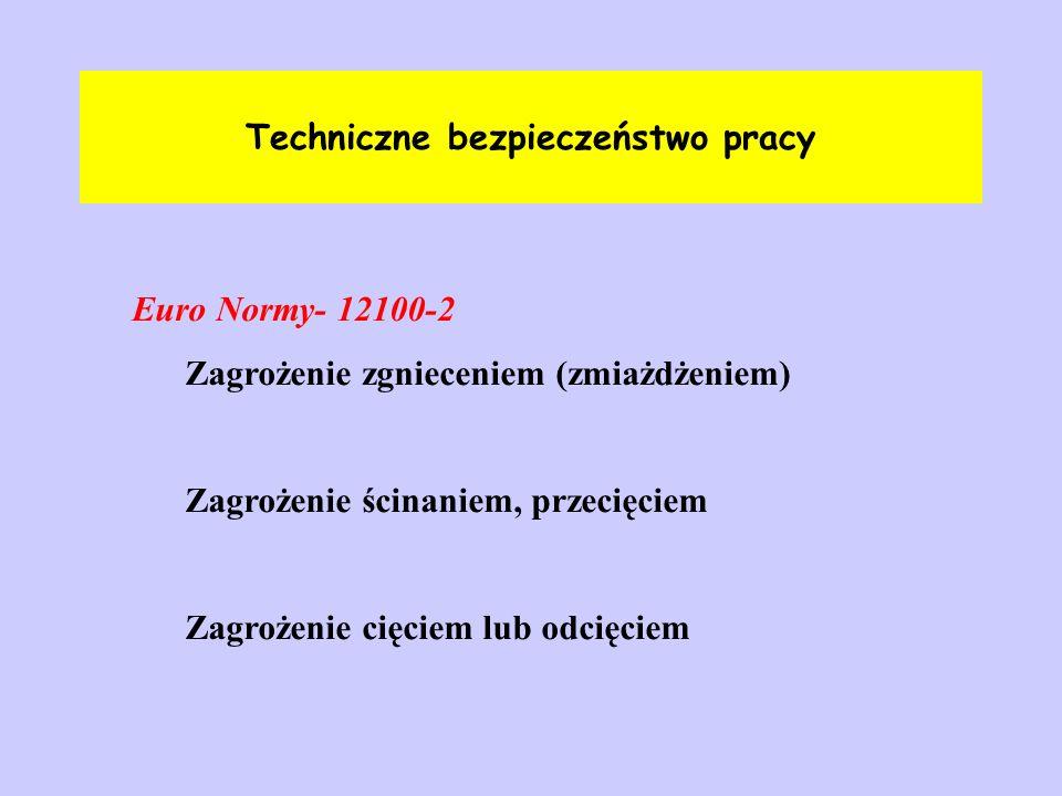 Techniczne bezpieczeństwo pracy Euro Normy- 12100-2 Zagrożenie zgnieceniem (zmiażdżeniem) Zagrożenie ścinaniem, przecięciem Zagrożenie cięciem lub odc