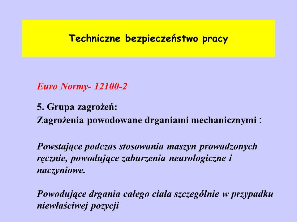 Techniczne bezpieczeństwo pracy Euro Normy- 12100-2 5. Grupa zagrożeń: Zagrożenia powodowane drganiami mechanicznymi : Powstające podczas stosowania m