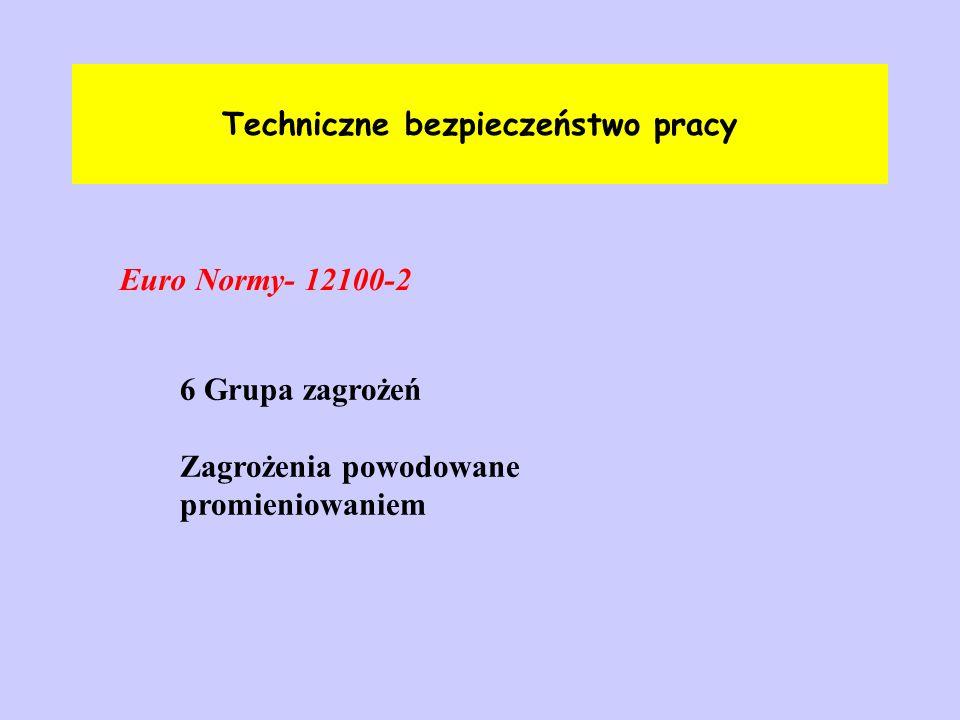 Techniczne bezpieczeństwo pracy Euro Normy- 12100-2 6 Grupa zagrożeń Zagrożenia powodowane promieniowaniem
