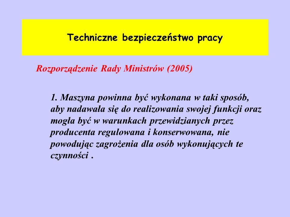 Techniczne bezpieczeństwo pracy Rozporządzenie Rady Ministrów (2005)ss podarki z podarki z 1. Maszyna powinna być wykonana w taki sposób, aby nadawała
