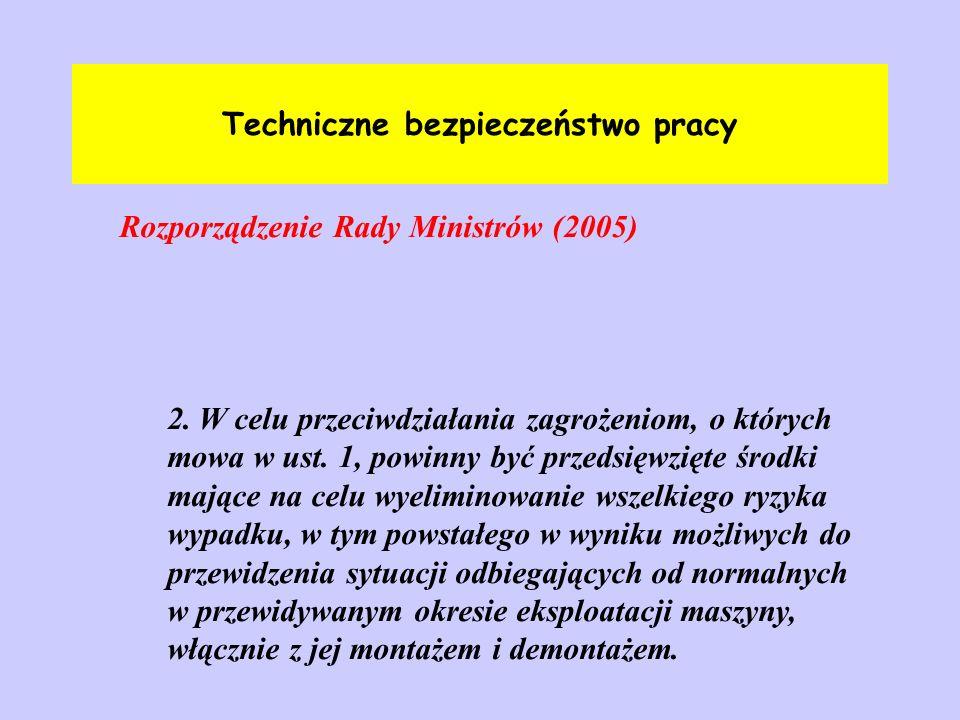 Techniczne bezpieczeństwo pracy Rozporządzenie Rady Ministrów (2005)ss podarki z 2. W celu przeciwdziałania zagrożeniom, o których mowa w ust. 1, powi